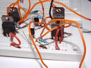 Prototype of H-Bridge Motor Controller on a Breadboard