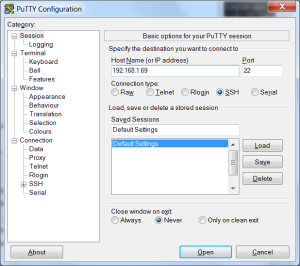 Putty Configuration for IP 192.168.1.69