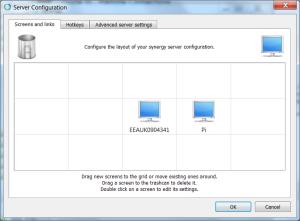 Server set-up of Synergy running on RPi
