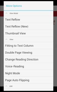 ezPDF Reader Settings on a Phone