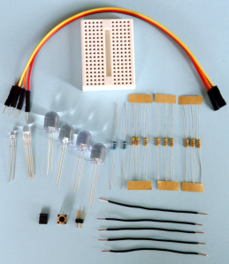 The mini breadboard kit includes some of the components used in Chapter 6 of my book, plus are ideal for a number of starter projects (traffic lights, RGB colour mixing, timed response challenge, memory game etc).