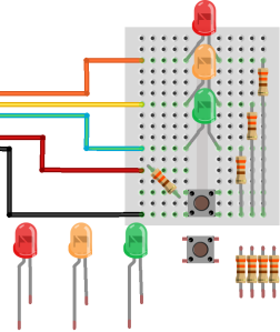 Create your own traffic lights, just waiting to be programmed!