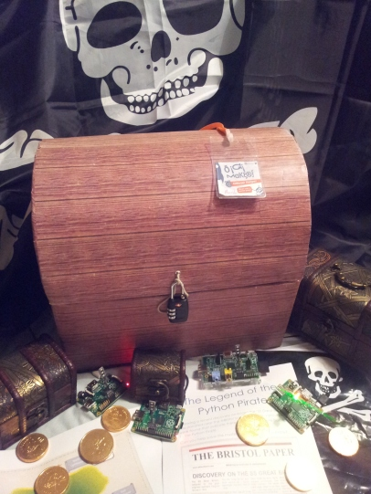 Python Pirate Workshop Setup - 3 small treasure chests, 1 large (with gold coins), Combination Padlock, 4 Raspberry Pi with Pi-Stops (plus PSU/SDCards), Maps and Worksheets